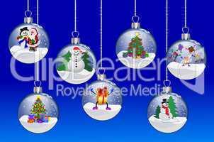 Illustration - Weihnachtskugeln auf blauem Hintergrund