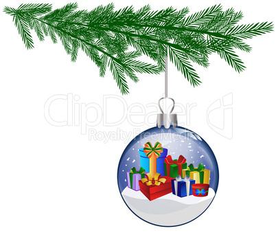 weihnachtskugel mit geschenken am tannenzweig lizenzfreie bilder und fotos. Black Bedroom Furniture Sets. Home Design Ideas