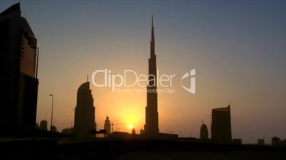Dubai sundown skyline Burj Khalifa