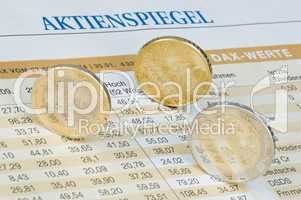Euromünzen auf Kurstabelle