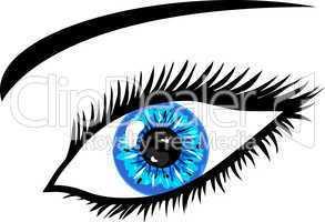 Leuchtend Blaues Auge mit Wimpern