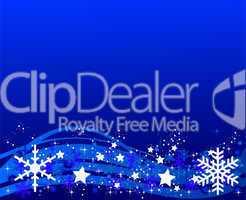 Blauer Weihnachtshintergrund mit Eiskristallen