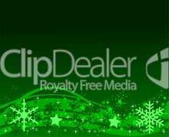Grüner Weihnachtshintergrund mit Eiskristallen