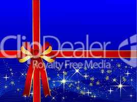 Blauer Weihnachtshintergrund mit Geschenkschleife