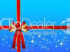 Hellblauer Weihnachtshintergrund mit Geschenkschleife