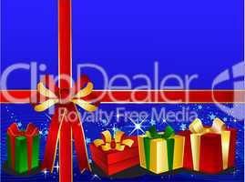 Blauer Weihnachtshintergrund mit Geschenken und Schleife