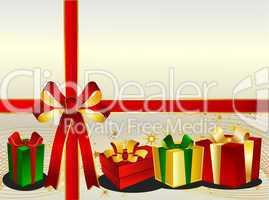 Weihnachtshintergrund mit Geschenken und Schleife