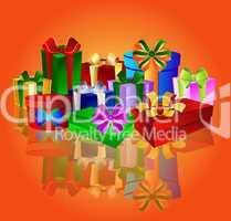 Bunter Hintergrund mit Geschenken