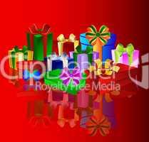 Bunte Geschenke auf rotem Hintergrund