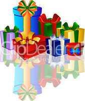 Viele Geschenke auf weissem Hintergrund