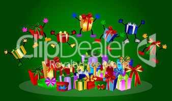 Springende Geschenke auf grünem Hintergrund