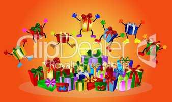 Bunter Hintergrund mit springenden Geschenken