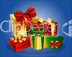 Weihnachtsgeschenke auf blauem Hintergrund