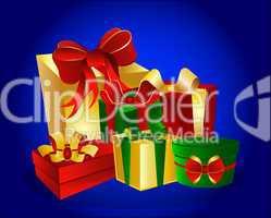 Geschenke auf blauem Hintergrund
