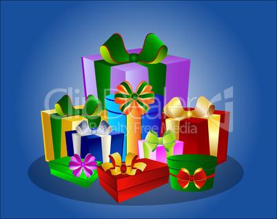 Illustration Bunte Geschenke auf blauem Hintergrund