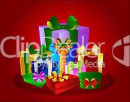 Illustration Bunte Geschenke auf rotem Hintergrund