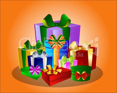 Illustration Bunte Geschenke