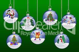 Illustration - Weihnachtskugeln auf grünem Hintergrund