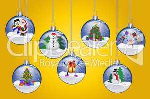 Illustration - Weihnachtskugeln auf gelbem Hintergrund