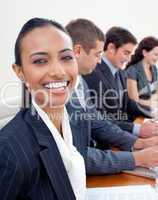 Portrait of an ethnic businesswoman in a meeting