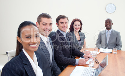Business team talking in a meeting