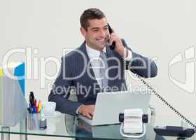 Manager on phone in his office