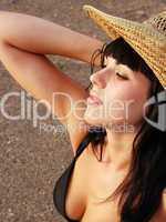 beautiful teenager in yellow hat