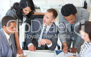 Businessteam working together in a business plan
