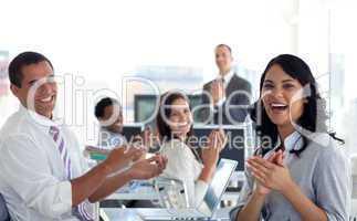 Businessteam applauding successful project