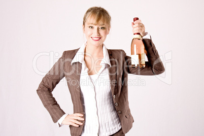 business woman with a bottle