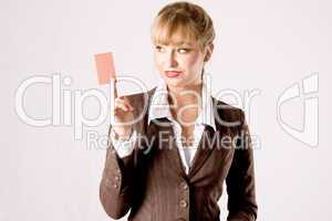 business woman with businesscard