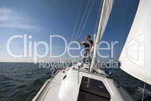 Skipper an Oberdeck