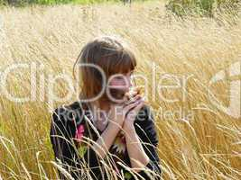 sexual a girl the afternoon in a grass