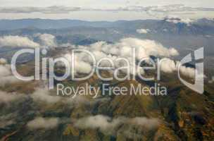 Aerial view of the Eastern Cordillera in the Ecuadorian Andes