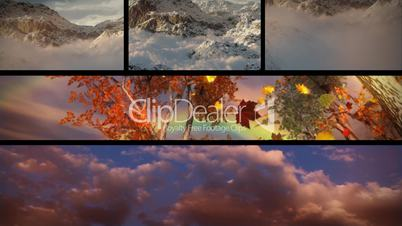 (1129) Sky Clouds Mountains Sunsets and Seasons Composition Loop