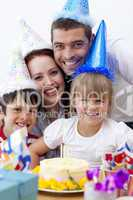 Portrait of happy family celebrating a birthday