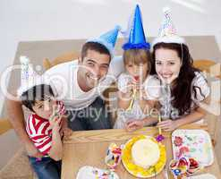 High angle of happy family celebrating a birthday