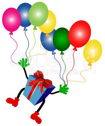 fliegendes geschenk mit luftballons lizenzfreie bilder. Black Bedroom Furniture Sets. Home Design Ideas