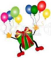 Fliegendes Geschenk mit Luftballons