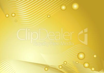 Goldener Hintergrund mit Linien und Kugeln