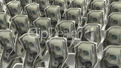 Dollars walking on white background