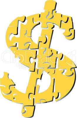 Dollar Zeichen als Puzzle