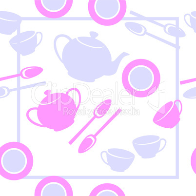 Seamless ornament with tea set  in color  23