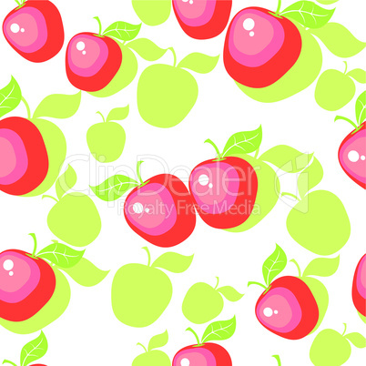 Seamless ornament with apple  in color  25
