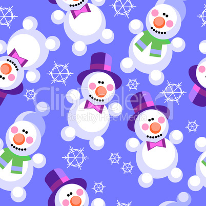 Seamless ornament snowman  in color  27