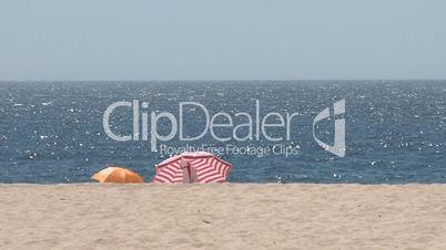 Beach umbrella on hot days of summer