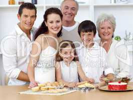 Big family baking in the kitchen