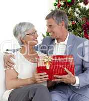 Senior man giving a Christmas present to his wife