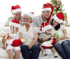 Children looking for presents in Christmas boots
