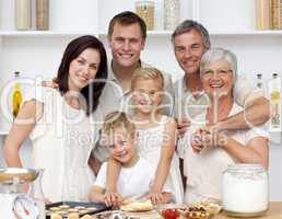 Happy family baking in the kitchen